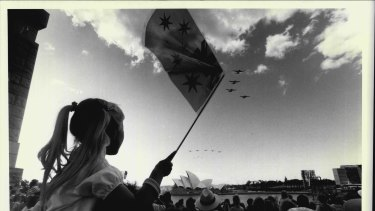 The Royal Australian Air Force files past.