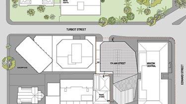 A plan for the Ann Street development. <B><A href= http://images.brisbanetimes.com.au/file/2010/07/07/1679176/081125_DA-A-06_contextplan_rev_B_%40a3.pdf?rand=1278462826931 >  VIEW IT IN FULL. </a></b>
