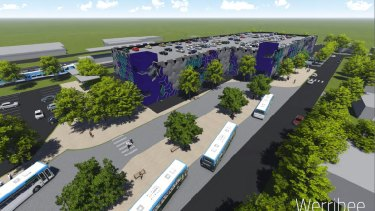 A design by Guymer Bailey architects for a proposed multi-storey car park at Werribee railway station