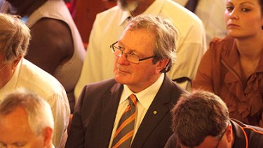 Greater Western Sydney coach Kevin Sheedy was among mourners for Richmond great and former Northern Territory MP Maurice Rioli.