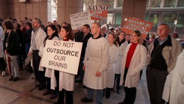 Political science ... CSIRO staff protest against the outsourcing of IT in 2000. Today, disinterested observers generally accept that whether a service provider is publicly or privately owned matters less than the controls over the service.