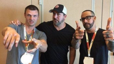 Nick Carter at Comic-Con this week with band mate A.J. McLean (R) and NSYNC's Joey Fatone, who are starring in Dead 7.