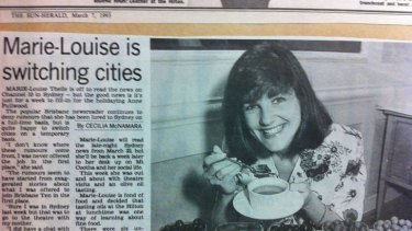 A 1993 clipping from the now-defunct The Sun newspaper in which newsreader Marie-Louise Thiele does an olive-oil tasting at the Hilton.