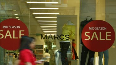Myer swooped on popular brands Marcs and David Lawrence, which collapsed in February.