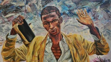 Moment of hope: The Preacher II 1995, oil on canvas 181 x 250cm, Hazelhurst Gallery.