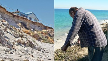 Erosion at Seabird (left); a resident surveys the damage from above.