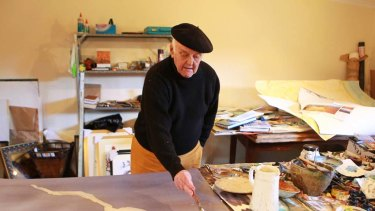 """John Olsen at home in his studio ... """"That's the thing I've found about Australia - it's best viewed from the air."""""""