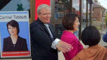 Kevin Rudd with Carmel Tebbutt in Marrickville today.