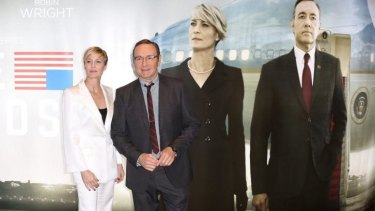 Actors Kevin Spacey and Robin Wright at the <i>House Of Cards</i> season 3 world premiere in London.
