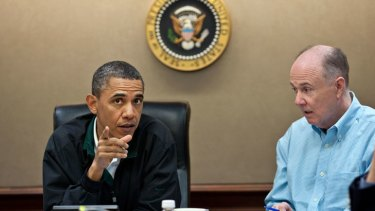 President Barack Obama makes a point during one in a series of meetings in the Situation Room of the White House .