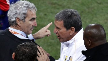 Refused to shake hands ... Raymond Domenech, left, after the match with South African counterpart Carlos Alberto Parreira.