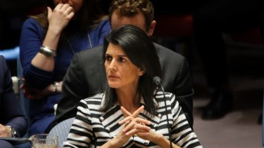 Nikki Haley called a press conference outside the UN to declare America's opposition to the talks.