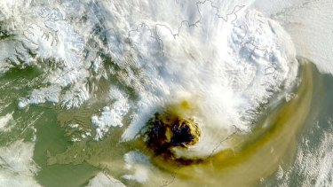 Eruption ... a NASA image of the Grimsvotn volcano.