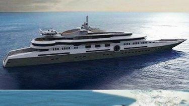 Roman Abramovich's $US1.2 billion mega-yacht, top, and the miniature submarine it houses.