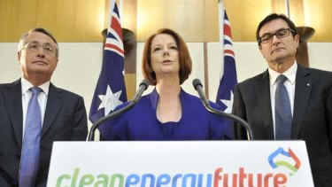 Standing firm ... from left, Treasurer Wayne Swan, Prime Minister Julia Gillard and the Minister for Climate Change Greg Combet.
