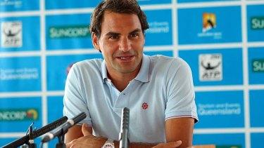 Roger Federer speaks to the media in Brisbane on Saturday.