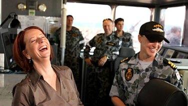 Julia Gillard in Darwin to visit navy personel on HMAS Broome.