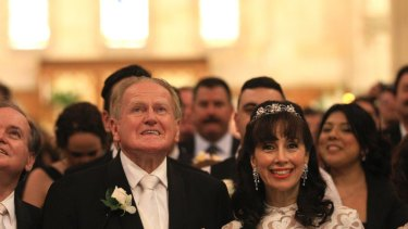 Power couple: the Reverend Fred Nile at his wedding with Silvana Nero last year.