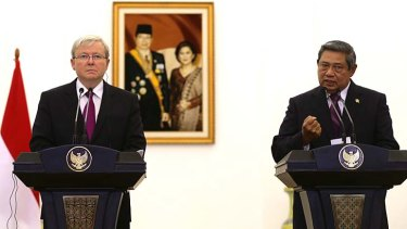 Prime Minister Kevin Rudd on a recent visit to Indonesia where he committed $600,000 to fight cyber crime.