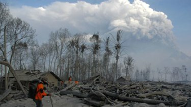 Buried under hot ash ... a rescue team searches for victims of the erupting volcano near the village of Ngancar.
