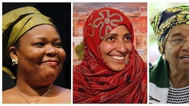 Winners ... from left: Leymah Gbowee, Tawakul Karman, and Ellen Johnson-Sirleaf.
