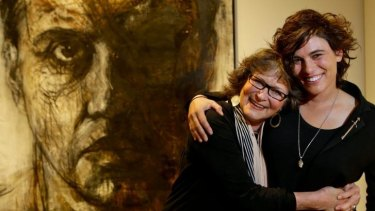 Painting triumph: Sophie Cape and mother Ann with her prizewinning portrait of actor Dan Wyllie.