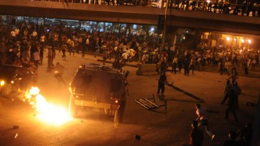 Coptic Christians clash with soldiers and police in Cairo.