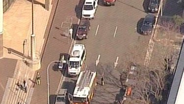 Emergency crews arrive at the scene.