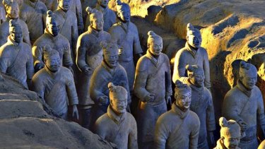 Study in terracotta ... some of the 8000 or so warriors have been brought to Sydney.