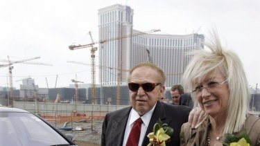 Sheldon Adelson (left), chief of Las Vegas Sands Corporation and his wife Miriam Adelson attend the ground breaking ceremony of the Cotai Strip in Macau.
