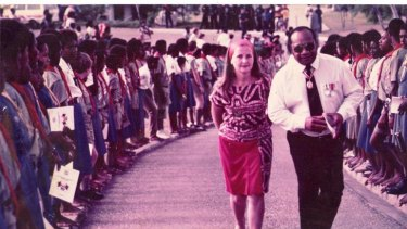 Sir Buri Kidu and Lady Carol Kidu celebrate PNG's 10th anniversary of independence, 1985.  The Age. Photo supplied by Carol Kidu via Jo Chandler