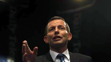 Opposition Leader Tony Abbott holds a question and answer forum with 200 swinging voters at the Rooty Hill RSL last night.