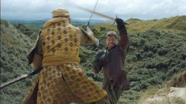 Jaime's one-handed sword fight just doesn't seem fair.