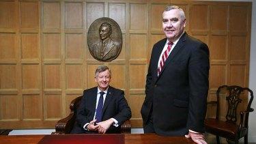 Myer chairman Paul McClintock and CEO Bernie Brookes on Thursday.