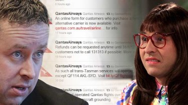 "Public say no ... Qantas, led by Alan Joyce, copping flak for airline's wooden statements on social media, bringing to mind David Walliams ""computer says no"" character  in the TV comedy Little Britain."