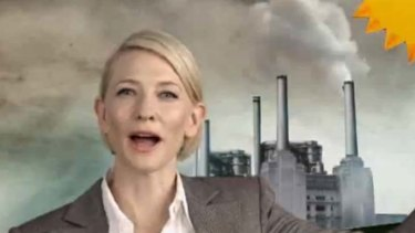 Cate Blanchett appears in an ad in support of the carbon tax.