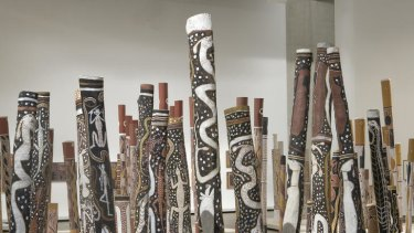 Indigenous loss ... the 200 decorated hollow log coffins in the Aboriginal Memorial at the National Gallery of Australia.