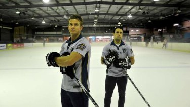 Assistant captain Jordie Gavin and goal Keeper Nick Eckhardt of the Canberra Knights.