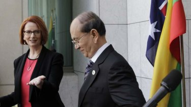 Prime Minister Julia Gillard during a press conference with Thein Sein, President of Myanmar.