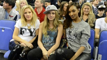 Singer Ellie Goulding with models Cara Delevingne and Jourdan Dunn.