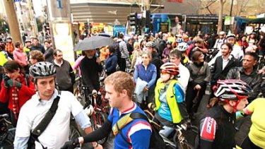 Cyclists protest on Swanston Street in September.