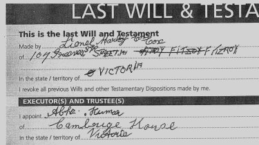 Part of Lionel Cox's Will.