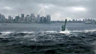 New York City is flooded in the wake of a catastrophic climatic shift in a scene from <i> The Day After Tomorrow</i>.