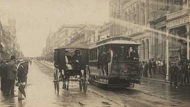 Police aboard a tram in Queen Street during the 1912 general strike.