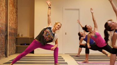 Sammy Veall (left) with converts to her new yoga classes.