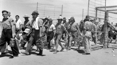 Barmera, South Australia. 1943-12-31. Italian internees pass through the compound gates carrying their personal belongings..