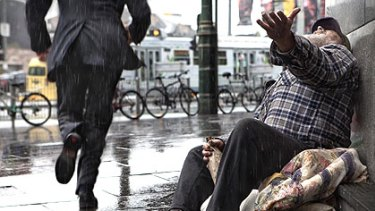 Harvey's photograph of a homeless man in Melbourne.