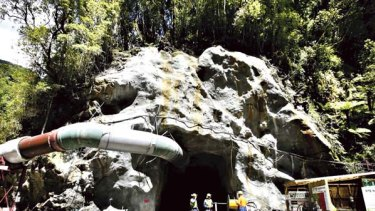 Tragedy below ... The opening to the Pike River coal mine.