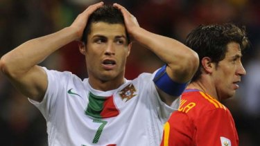 Despair ... Portugal star Cristiano Ronaldo.
