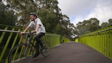Ted Thyer rides on the Darebin Yarra Trail.